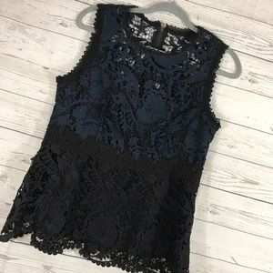Nanette Lepore Shirt Blue Black Lace Block 12